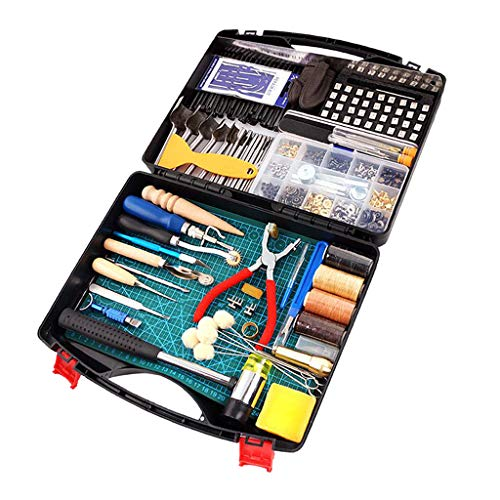 oshhni Practical Leather Tools 273 PCS Complete Craft Sewing Kit for Beginner/Professional- Leather Making Kit for Bookbinding, Sewing, Leather Working