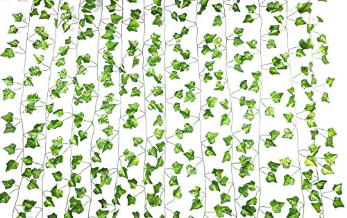Excellous 12 Pack - 84-Ft Silk Artificial Ivy Vines Leaf Garland Plants Hanging Wedding Garland Fake Foliage Flowers Home Kitchen Garden Office Wedding Wall Decor Jungle Party -