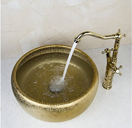GOWE Luxy Round Paint Golden Bowl Sinks / Vessel Basins With Washbasin Ceramic Basin Sink & Polished Golden Faucet Tap Set 3