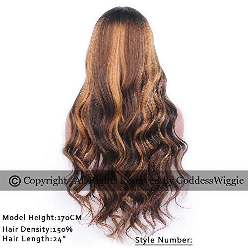Goddess Wiggie Human Hair Lace Front Wigs 130% Density Brazilian Virgin Hair Long Wavy Beautiful Ombre Highlight Color Lace Front Human Hair Wigs For Black and White Women With Baby Hair(22inch) by Goddess Wiggi (Image #1)