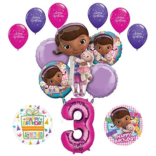 cheap Doc McStuffins 3rd Birthday Party Supplies and Balloon Bouquet