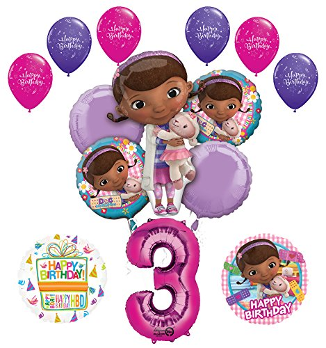 Doc McStuffins 3rd Birthday Party Supplies and Balloon Bouquet Decorations