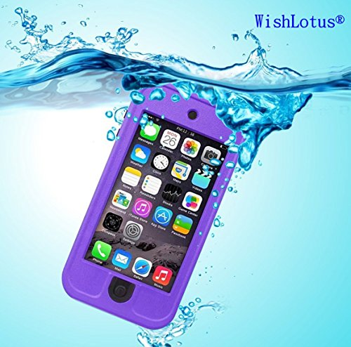 IPod Touch 6 Waterproof Case,IPod Touch 5 Waterproof Case,WishLotus® Waterproof Shockproof Dust Proof Snow Proof Touch Sensitive Case Cover for Touch 6/5 for Swimming Diving Outdoor Sports (Purple)