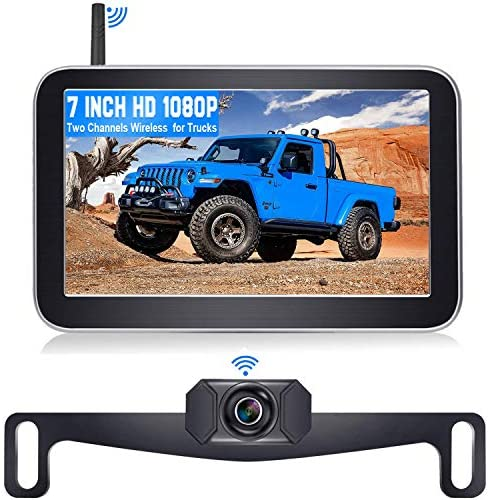 "DoHonest V29 HD 1080P Digital Wireless Backup Camera 7"" Split Screen Monitor for Trucks,Cars,Campers,Vans, Observation System with Stable Signal,IP69 Waterproof,Super Night Vision,Guide Lines On/Off"