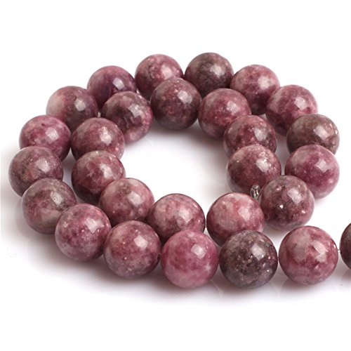 Pink Tourmaline Bead Necklace - Natural Round Pink Tourmaline Lepidolite Gemstone Loose Beads In Bulk For Jewelry Making Wholesale One Strand 15 1/2