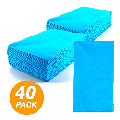 SparkSettings Big Party Pack Tableware 2 Ply Guest Towels Hand Napkins Paper Soft and Absorbent Decorative Hand Towels for Kitchen and Parties 40 Pieces Caribbean Blue - Blue Guest Napkins