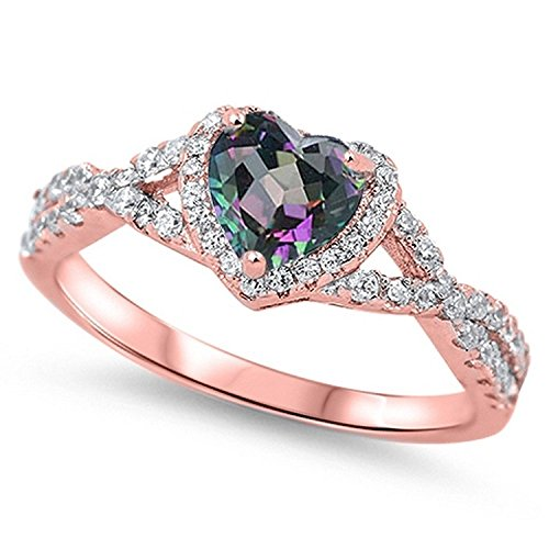 Blue Apple Co. Halo Infinity Shank Heart Promise Ring Round Simulated Rainbow CZ Rose Tone 925 Sterling Silver, Size-5 ()