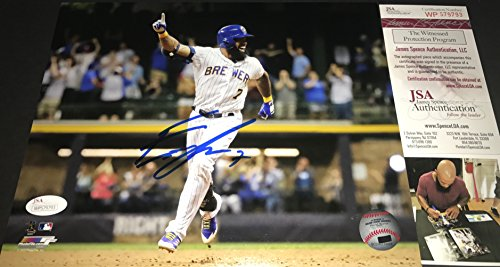 Eric Thames Milwaukee Brewers Autographed Signed 16x20 JSA WITNESS COA Horizontal