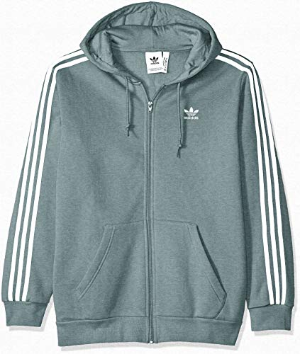 adidas Originals Men's 3-Stripes Full Zip Hoodie, vapour steel, Large (Adidas Originals Zip Up Hoodie With Small Logo)