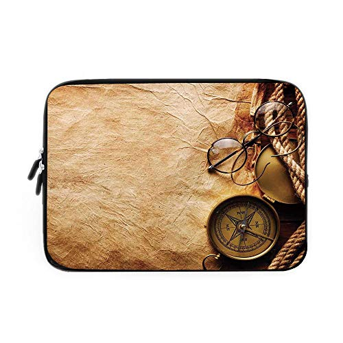 Compass Decor Laptop Sleeve Bag,Neoprene Sleeve Case/Compass Rope and Glasses on Old Paper History Exploring Cartography Illustration/for Apple MacBook Air Samsung Google Acer HP DELL Lenovo
