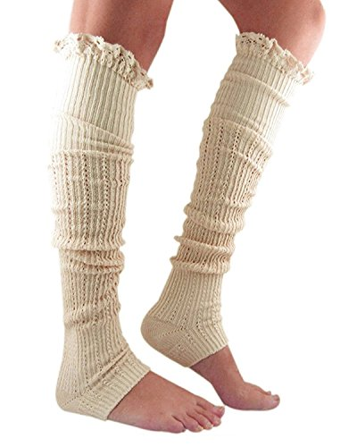 Century Star Winter Cable Knit Lace Trim Fashion Soft Crochet Leg Warmers B Beige (80s Outfits For Sale)