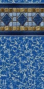 Piscina Liner suelo uni-bead 12pies x 18pies. Oval x 52en. H–GLI AquaLiner Lucía Tile pattern–Medidor de 25ml–20años de garantía–fabricado en EE. UU.