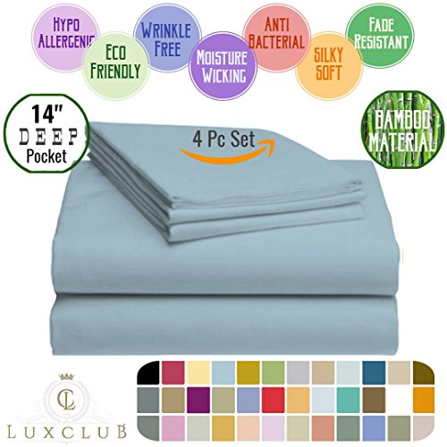 4 PC LuxClub Sheet Set Bamboo Sheets Deep Pockets Eco Friendly Wrinkle Free Sheets Hypoallergenic Anti-Bacteria Machine Washable Hotel Bedding Silky Soft - Light Blue Twin
