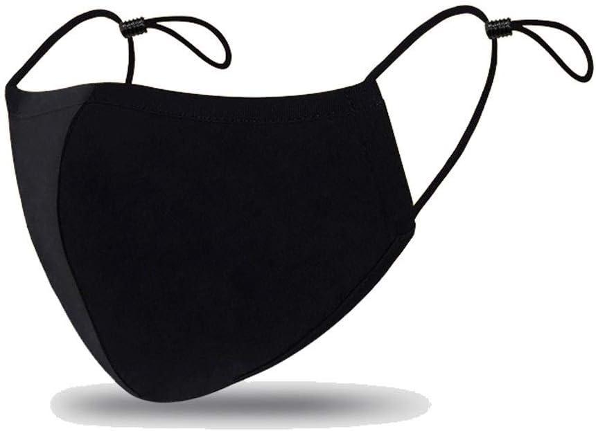 ZA Máscaras 2 Paquete de Cara de algodón, Lavables, máscaras de Tela Reutilizables Boca Máscara Unisex Negro mascarilla de protección Anti-Polvo máscara de Boca for los Deportes, Correr, Senderismo