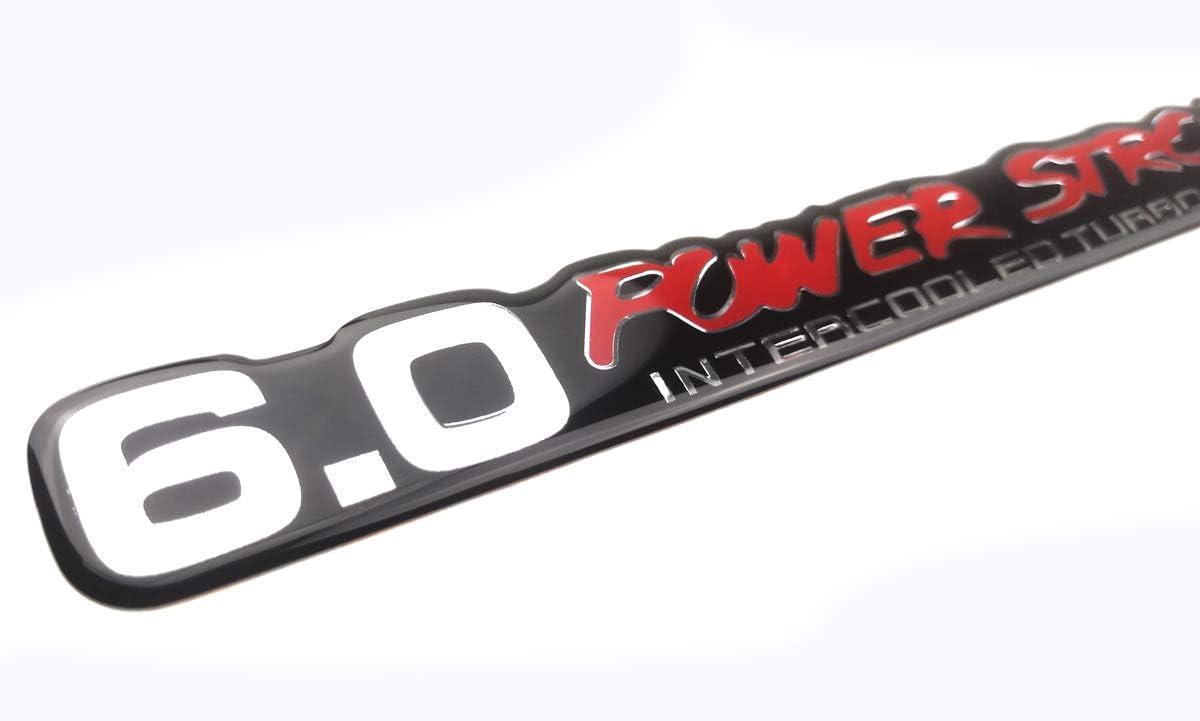 Chrome Black 2 Pack 6.0 PowerStroke Intercooled Turbo Diesel Super Duty Decal sticker Truck Emblems