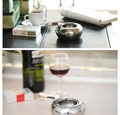 Ashtray lid,LOYMR Stainless Steel Unbreakable Modern Ashtray, Cigarette Ashtray for Indoor or Outdoor Use, Ash Holder for Smokers, Desktop Smoking Ash Tray for Home office Decoration, Silver