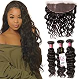 Unice 7A Brazilian Natural Wave Virgin Hair 3 Bundles with Free Part Lace Frontal Closure Unprocessed Human Hair Weaves Deals (20 22 24+16Frontal)