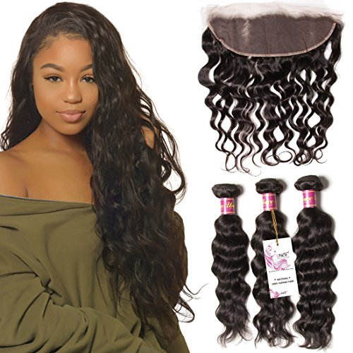 Unice 7A Brazilian Natural Wave Virgin Hair 3 Bundles with Free Part Lace Frontal Closure Unprocessed Human Hair Weaves Deals (20 22 24+16Frontal) by UNICE