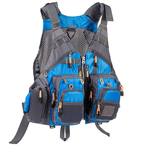 Bassdash Strap Fishing Vest Adjustable for Men and Women, for Fly Bass Fishing and Outdoor Activities Blue