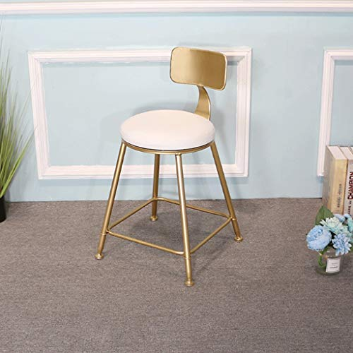 (Wei Zhe Bar Stool-Iron Gold Bar Stool Simple Home Back Dining Chair High Stool Cafe Bar Lounge Chair Modern Home bar Stool (Color : White, Size : 65cm))