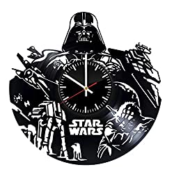 Star Wars vinyl clock, vinyl wall clock, vinyl record clock yoda leia organa luke skywalker jedi grand master home decor birthday gift 043 - (a2)