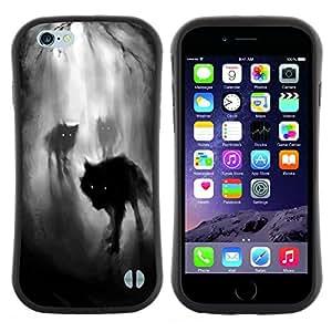 "Hypernova Slim Fit Dual Barniz Protector Caso Case Funda Para Apple (5.5 inches!!!) iPhone 6 Plus / 6S Plus ( 5.5 ) [Niebla Noche Oscuro Bosque del hombre lobo""]"
