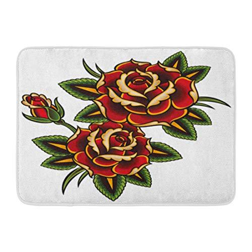 (Emvency Doormats Bath Rugs Outdoor/Indoor Door Mat Red Flower Tattoo Roses Pink Vine Thorn Pattern Border Outline Bathroom Decor Rug Bath Mat 16