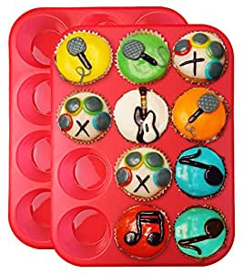 Clearance Sale - Ozera 2 Pack Silicone Muffin Pan / Cupcake Pan Cupcake Mold 12 Cup, Red