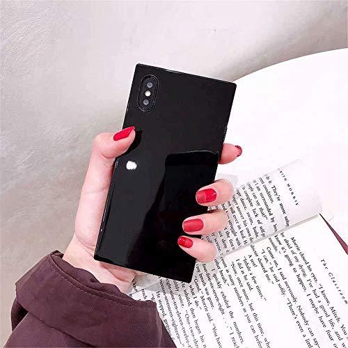 Square Case iPhone X Xs,Tzomsze iPhone X 10 Case Reinforced Corners TPU Cushion,[2019 Cute Candy Color Series] Square TPU Slim Shock Absorption Silicone Case Cover-Black