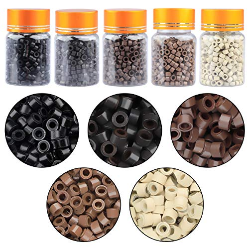 2500PCS Silicone Micro Link Rings, DANSEE 5mm Lined Beads For Hair Extensions (Black, Light Brown, Dark Brown, Blone, Dark Blone) for I Tip Hair Extensions Feather Hair Extensions