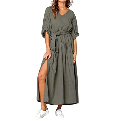 Xmiral Women Long Sleeve V Neck Split Linen Dress Ladies Autumn Casual Loose Maxi Dresses (