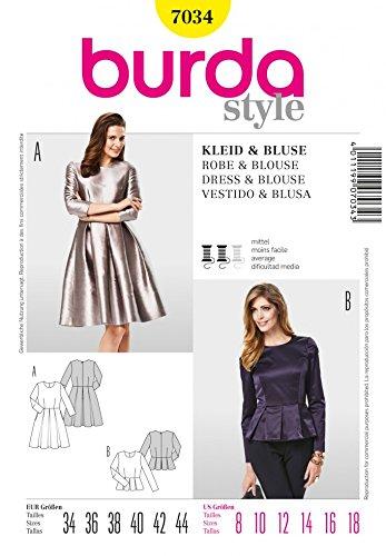 Amazon.com: Burda Ladies Sewing Pattern 7034 Peplum Top & Pleated ...