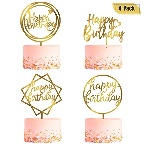 4 Pack Happy Birthday Cake Topper, Acrylic Cake Topper Birthday Cupcake Toppers, A Series of Gold Cake Topper Birthday Supplies for Various Birthday Cake Decorations ()