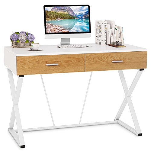Tribesigns Modern Computer Desk with 2 Drawers, 47'' Writing Desk Study Table with X Shaped Metal Frame for Home Office (white) by Tribesigns