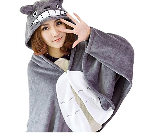 Totoro Dress Costume (King Ma Women's Anime Cape Shawl Coral Fleece Hoodie Cloak)