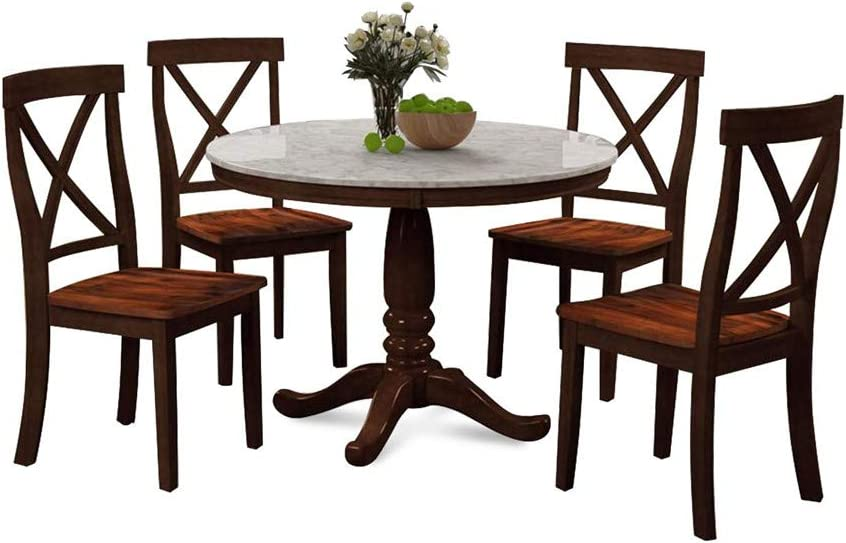 Amazon.com - Li Qig 5pcs Dining Table Set Wooden Seat Table Chair Set Heavy Duty Contemporary Indoor Furniture Set - Table & Chair Sets