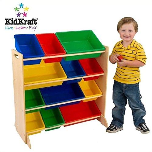 2 Piece Modern White Play Kitchen with Colorful Storage Bin Set