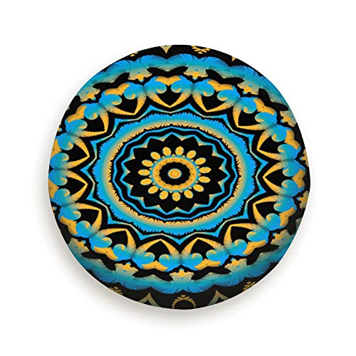 AndrewTop Round Mehndi Indian Henna Tattoo Vintage Spare Tire Cover, Waterproof Dust-Proof Thicken Wheel Protectors Covers Fit 14-17 Inch 14 Inch