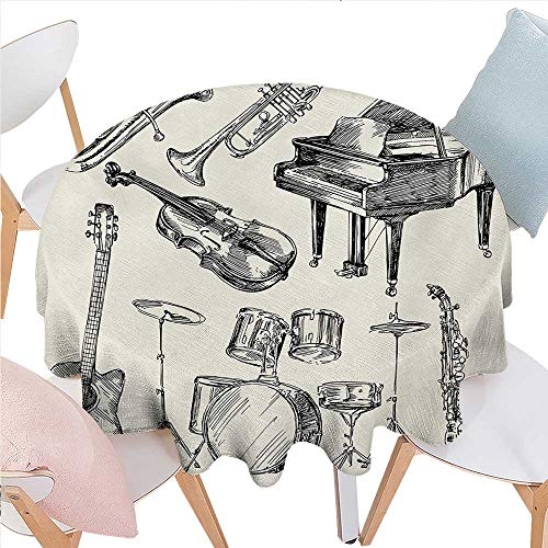 Round Tablecloth Collection of Musical Instruments Sketch Style Art with Trumpet Piano Guitar Dust-Proof Round Tablecloth D70 Beige Black ()