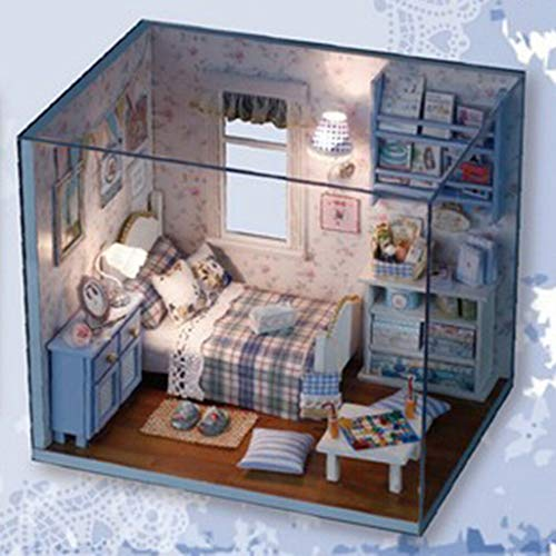 NATFUR Wooden Dollhouse Miniature DIY House Kit with Dust Cover 1/24 Scale Building (Best Place To Live In Stockholm)