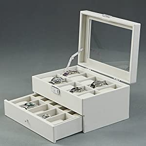 SONGMICS 20 Watch Box Lockable Organizer Display Case with Glass Top White