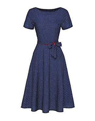 Honwenle Women's Polka Dot 1950'S Vintage Round Neck Short Sleeve Swing Party Dress
