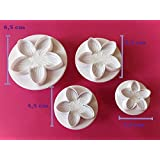 4 tlg. Ausstecher Set Blumen TORTENDEKO Marzipan Blumenausstecher Fondant Modellierwerkzeug SC16
