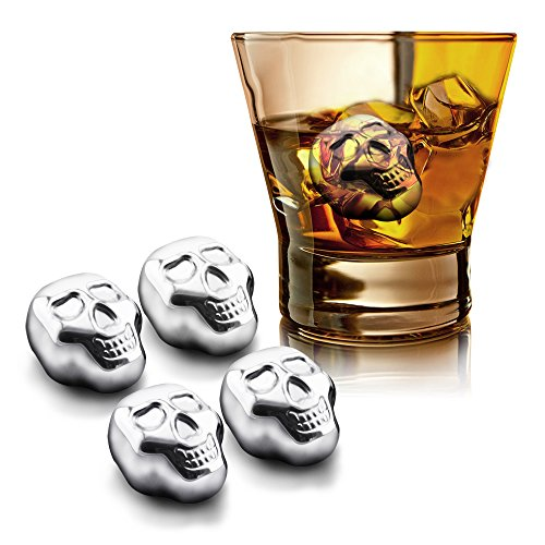 Supershop® Skull Shaped Whiskey Stones,Chilling Reusable Ice Cubes for Whiskey,vodka,liqueurs,White wine,Beer,Coca Cola and more,Pack of 4 (Skull)
