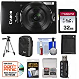 Canon PowerShot Elph 190 is Wi-Fi Digital Camera (Black) with 32GB Card + Case + Battery + Tripod + Kit