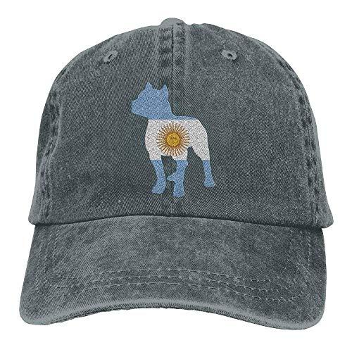 Unisex Patriotic Pitbull Argentina Flag Vintage Denim Baseball Cap Adjustable Dad Hat