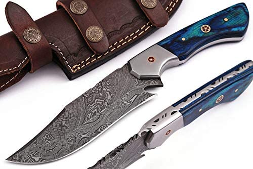 Handmade Damascus Steel Hunting Knife Bowie Knife 9.5 with Leather Sheath G-1079