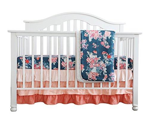 Coral Navy Floral Baby Crib Bedding Set Minky Blanket Crib Rail Cover Peach Navy Floral Girl Crib Set Floral Ruffled Crib Skirt (3 pcs set) (Set Coral Bedding)