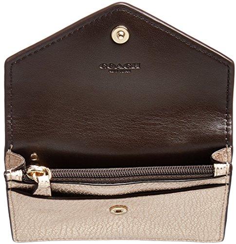 d5da0302a9be Coach Envelope Card Case In Pebble Leather Light Gold Platinum ...