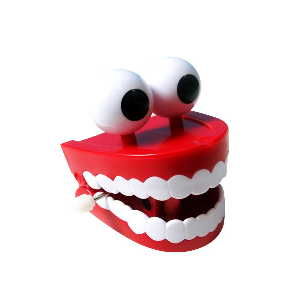 LUOEM Novelty Funny Vibrating Wind up Toys Chattering Wind up Teeth with Eyes Halloween Toys